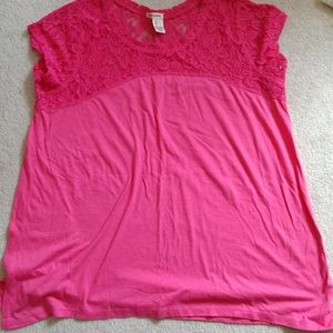 Dkny large tee salmon color lace detail on top